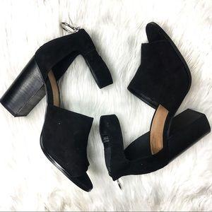 ASOS Black suede chunky heel size 6 open toe